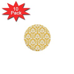 White On Sunny Yellow Damask 1  Mini Button (10 Pack)