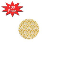 White On Sunny Yellow Damask 1  Mini Button (100 Pack)