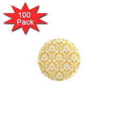 White On Sunny Yellow Damask 1  Mini Button Magnet (100 pack)