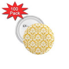 White On Sunny Yellow Damask 1.75  Button (100 pack)