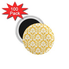 White On Sunny Yellow Damask 1 75  Button Magnet (100 Pack)
