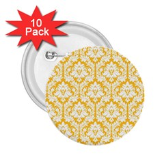 White On Sunny Yellow Damask 2.25  Button (10 pack)