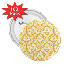 White On Sunny Yellow Damask 2 25  Button (100 Pack)