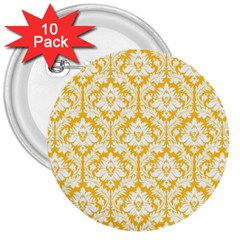 White On Sunny Yellow Damask 3  Button (10 Pack)