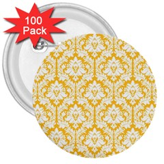 White On Sunny Yellow Damask 3  Button (100 pack)