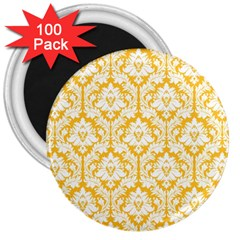White On Sunny Yellow Damask 3  Button Magnet (100 pack)