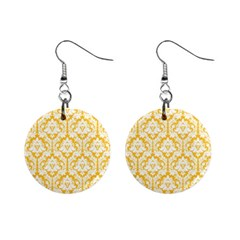 Sunny Yellow Damask Pattern 1  Button Earrings