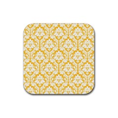White On Sunny Yellow Damask Drink Coaster (Square)