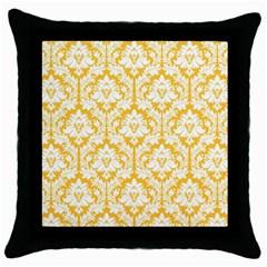 White On Sunny Yellow Damask Black Throw Pillow Case