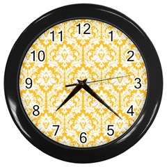White On Sunny Yellow Damask Wall Clock (Black)