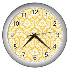 White On Sunny Yellow Damask Wall Clock (Silver)