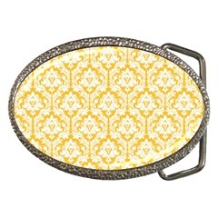 White On Sunny Yellow Damask Belt Buckle (Oval)