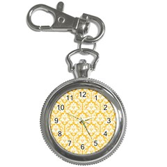 White On Sunny Yellow Damask Key Chain Watch
