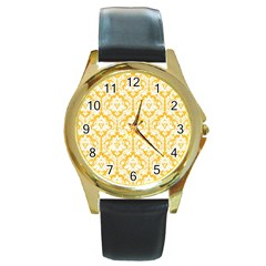 White On Sunny Yellow Damask Round Leather Watch (Gold Rim)