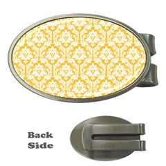 White On Sunny Yellow Damask Money Clip (Oval)