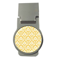 White On Sunny Yellow Damask Money Clip (round)