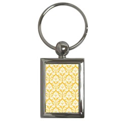 White On Sunny Yellow Damask Key Chain (rectangle)
