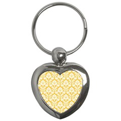 White On Sunny Yellow Damask Key Chain (Heart)