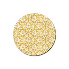 White On Sunny Yellow Damask Drink Coasters 4 Pack (Round)