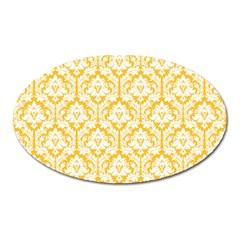 White On Sunny Yellow Damask Magnet (Oval)
