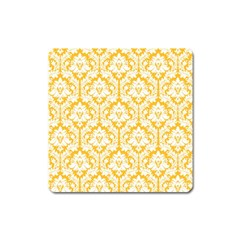 White On Sunny Yellow Damask Magnet (Square)