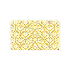 White On Sunny Yellow Damask Magnet (Name Card)