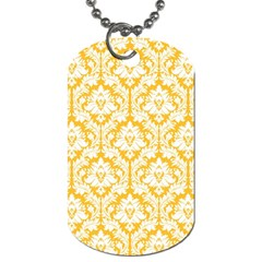 White On Sunny Yellow Damask Dog Tag (one Sided)