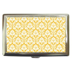 White On Sunny Yellow Damask Cigarette Money Case