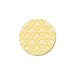 White On Sunny Yellow Damask Golf Ball Marker 4 Pack