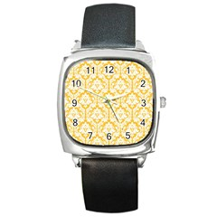 White On Sunny Yellow Damask Square Leather Watch