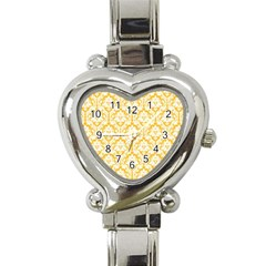 White On Sunny Yellow Damask Heart Italian Charm Watch