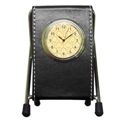White On Sunny Yellow Damask Stationery Holder Clock