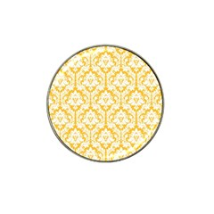 White On Sunny Yellow Damask Golf Ball Marker 4 Pack (for Hat Clip)