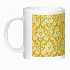 White On Sunny Yellow Damask Glow In The Dark Mug