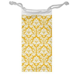 White On Sunny Yellow Damask Jewelry Bag