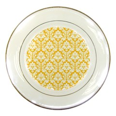 White On Sunny Yellow Damask Porcelain Display Plate