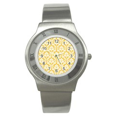 White On Sunny Yellow Damask Stainless Steel Watch (Slim)