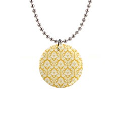 Sunny Yellow Damask Pattern 1  Button Necklace