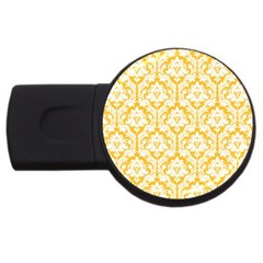 White On Sunny Yellow Damask 4GB USB Flash Drive (Round)