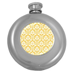 White On Sunny Yellow Damask Hip Flask (Round)