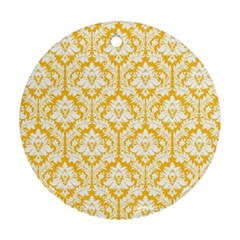 White On Sunny Yellow Damask Round Ornament (Two Sides)