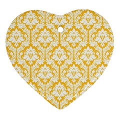 White On Sunny Yellow Damask Heart Ornament (two Sides)