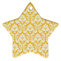 White On Sunny Yellow Damask Star Ornament (Two Sides)