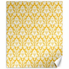White On Sunny Yellow Damask Canvas 8  x 10  (Unframed)