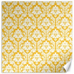 White On Sunny Yellow Damask Canvas 12  x 12  (Unframed)