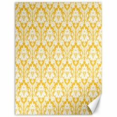 White On Sunny Yellow Damask Canvas 12  X 16  (unframed)