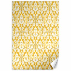White On Sunny Yellow Damask Canvas 12  x 18  (Unframed)