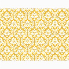 White On Sunny Yellow Damask Canvas 18  X 24  (unframed)