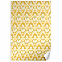 White On Sunny Yellow Damask Canvas 24  x 36  (Unframed)