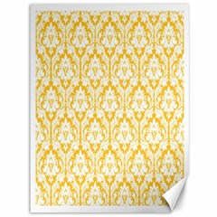 White On Sunny Yellow Damask Canvas 36  x 48  (Unframed)